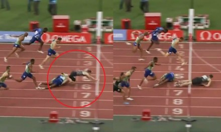 Sprint Hurdler Wins Race in a Photo Finish After Being Tripped