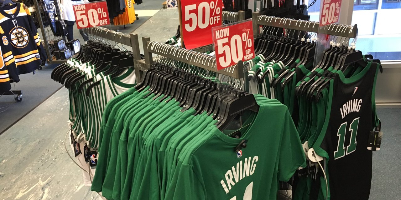 footwear picked up wholesale outlet Kyrie Irving Celtics Gear Has Already Hit the Clearance Rack ...
