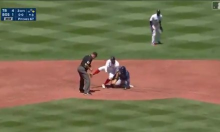 Tampa Bay's Yandy Diaz Got Gunned Out at Second Base After Hitting a Ball Off the Wall