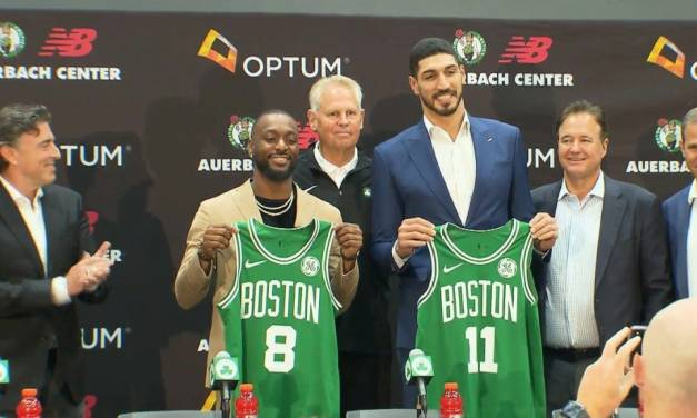 Enes Kanter Continues to Troll Kyrie Irving at Celtics Introduction Press Conference