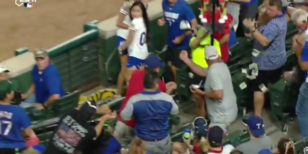 Rangers Fan's Money Sent Flying as He Tries to Catch a Foul Ball With His Wallet