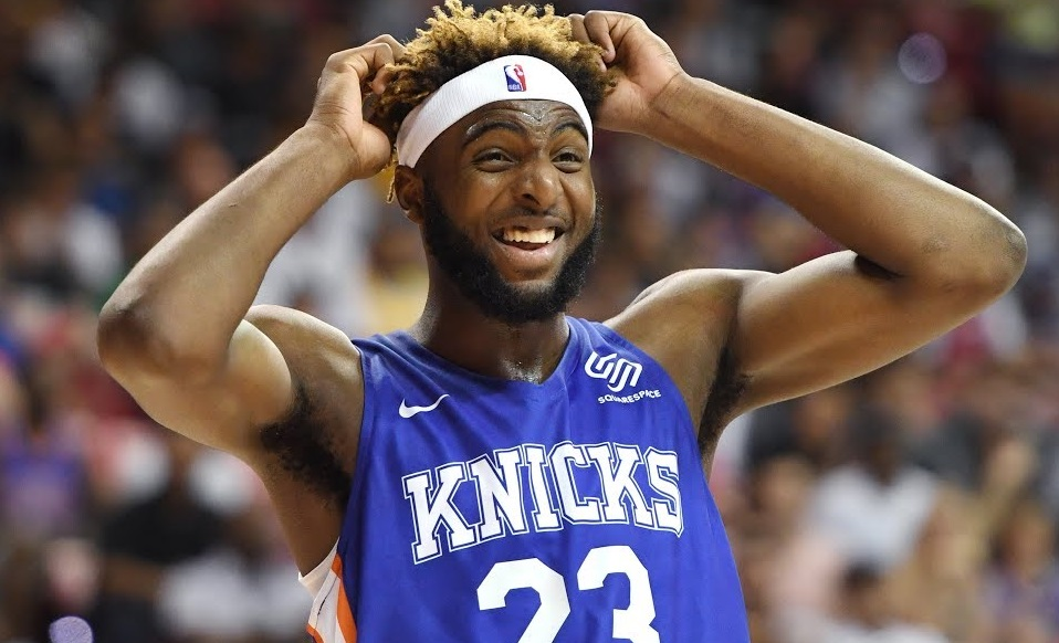 Lakers Prospect Nick Perkins Steals Mitchell Robinson's Headband and Throws It