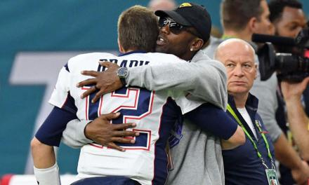 Tom Brady Connects with Randy Moss at  Patriots Training Camp