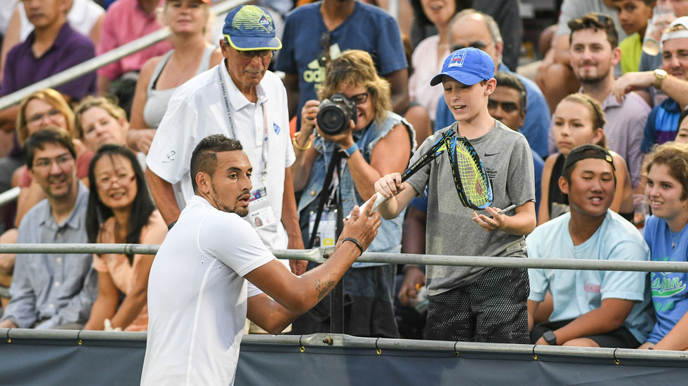 Watch Nick Kyrgios Smash Another Racket and Hand it to a Fan