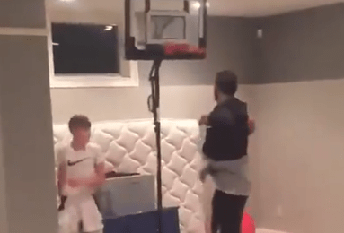 Mike Miller's Son Got His Revenge on Kyrie Irving by Posterizing Him on a Mini Hoop