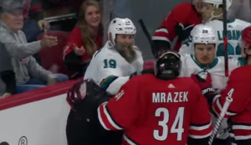 Sharks Center Joe Thornton Dropped Canes Goalie Petr Mrazek With a Punch to the Throat