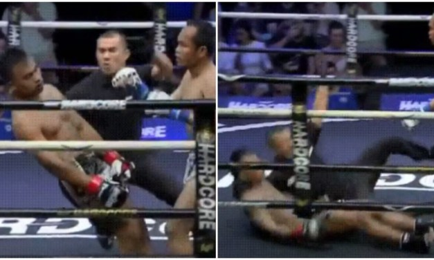 Referee Uses Reflexes to Save KO'd Fighter from Slamming Head on Canvas