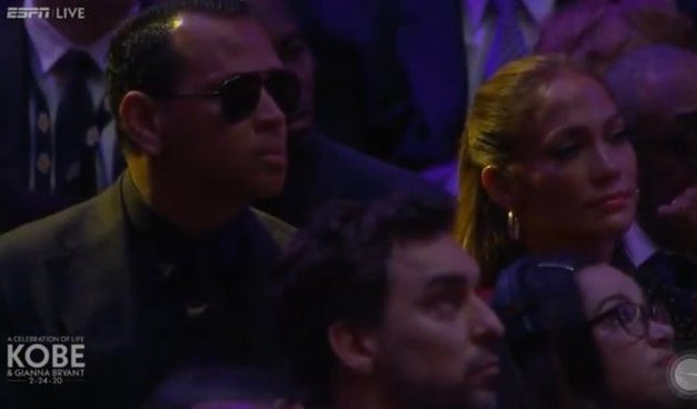 Jennifer Lopez Cried Alongside Alex Rodriguez at Kobe Bryant Memorial