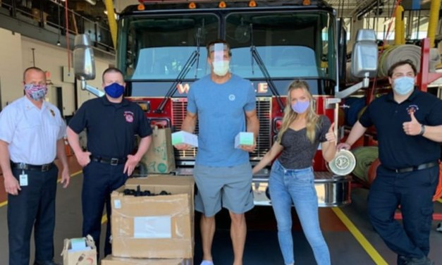 Gronk and Camille Kostek Delivered Facemasks and Shields to Fire Departments in the New England Area