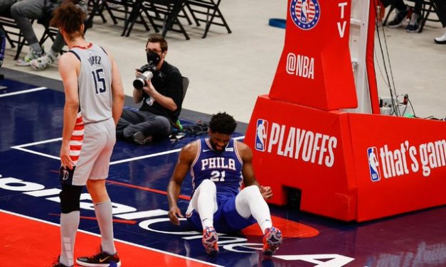 Embiid injures knee, to have MRI on Tuesday
