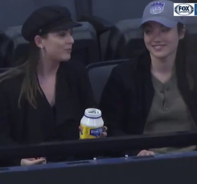 Ladies Eat Spoonfuls of Mayo at Kings-Pistons Game