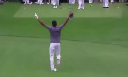 Golfer Dislocates his Ankle Celebrating a Hole in One at the Masters