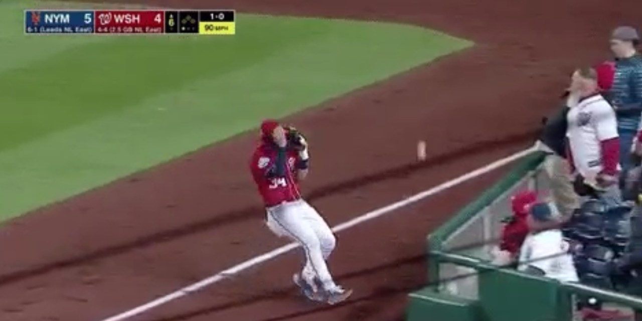 Bryce Harper Makes a Pitiful Attempt at Catching a Foul Ball