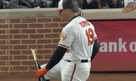 Orioles First Baseman Chris Davis Snaps his bat like a Twig After Striking Out
