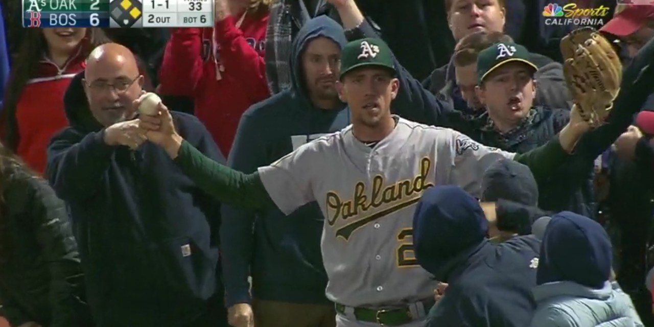 Stephen Piscotty Made a Great Catch Going into the Stands at Fenway
