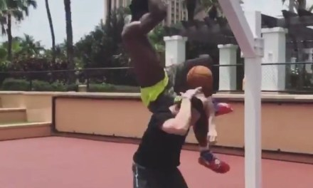 Joel Embiid Dunking in the Bahamas like a Beast