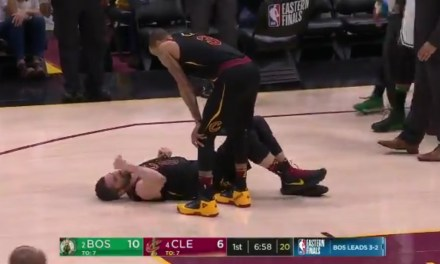 Kevin Love Taken to the Locker Room After Banging Heads with Jayson Tatum