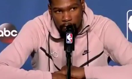 Kevin Durant and Kendrick Perkins Exchange Pleasantries During Press Conference