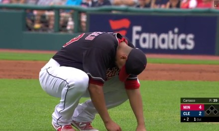 Carlos Carrasco Exits Game After Getting Drilled with a Comebacker