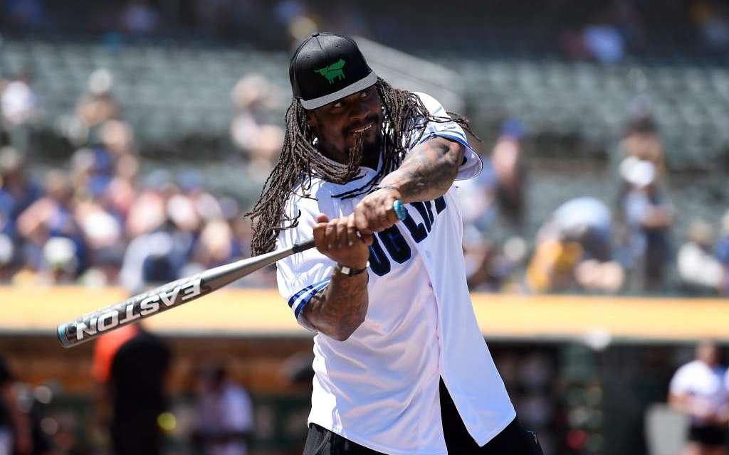 Marshawn Lynch's Best Moments from Charity Softball Game