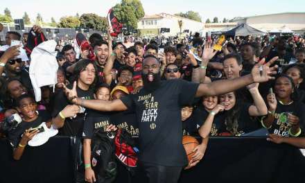 "James Harden Returns to Middle School in LA for ""Imma Be a Star"" Block Party"
