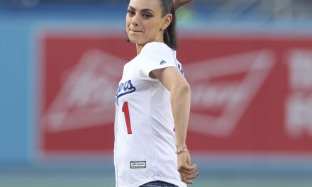 Mila Kunis Threw Out The First Pitch at Dodgers Game