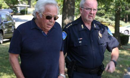 Bob Kraft Pays his Respects at the Police Department
