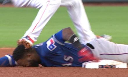 Jurickson Profar Got Cleated in the Face and His Head Stomped On and Stayed in the Game