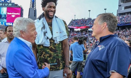 Joel Embiid took a Helicopter to the Eagles and Patriots Preseason Game