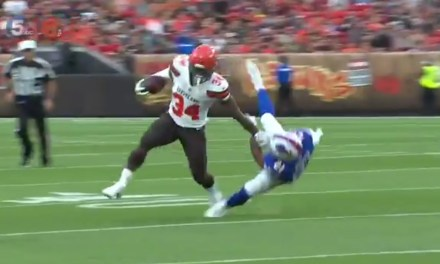 Carlos Hyde Hit Jordan Poyer with a Devastating Stiff Arm