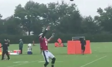 Carson Wentz's Knee Looks Just Fine as He Does His Best OBJ Impersonation at Practice