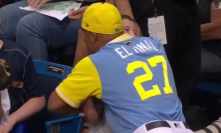 Carlos Gomez Surprised a Young Fan with a Bat