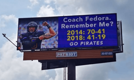 ECU Fans Troll Larry Fedora with a Billboard Following Blowout Win over UNC