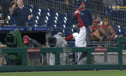 Phillies Third Baseman Maikel Franco Left Tuesday's Game After Flipping into the Camera Well Chasing a Foul Ball