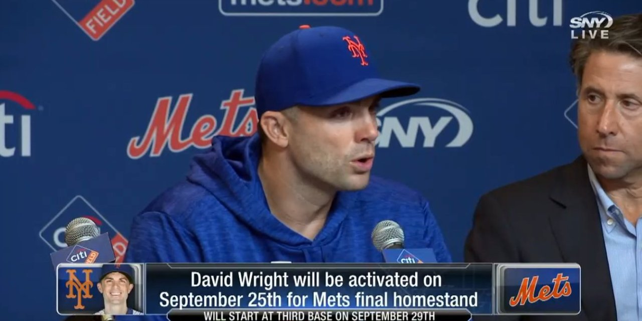 David Wright Will Play in the Last Home Series of the Season and Call it a Career