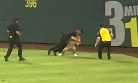Streaker at the Angels Game Got Speared by a Security Guard