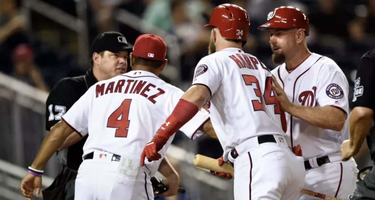 Bryce Harper Drops F-Bombs As He's Restrained from Ump After Late Ejection