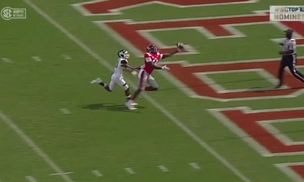 Ole Miss Receiver D.K. Metcalf Proves He Can't Be Overthrown with a One Handed Touchdown Snag