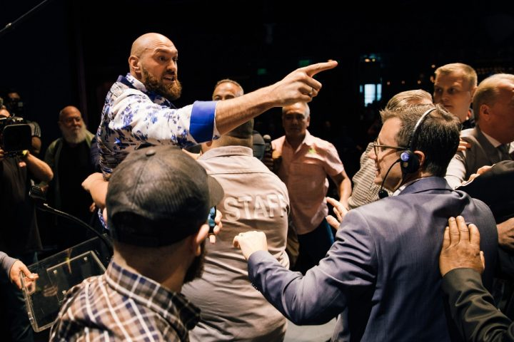 Deontay Wilder and Tyson Fury Brawl in Los Angeles at Press Conference