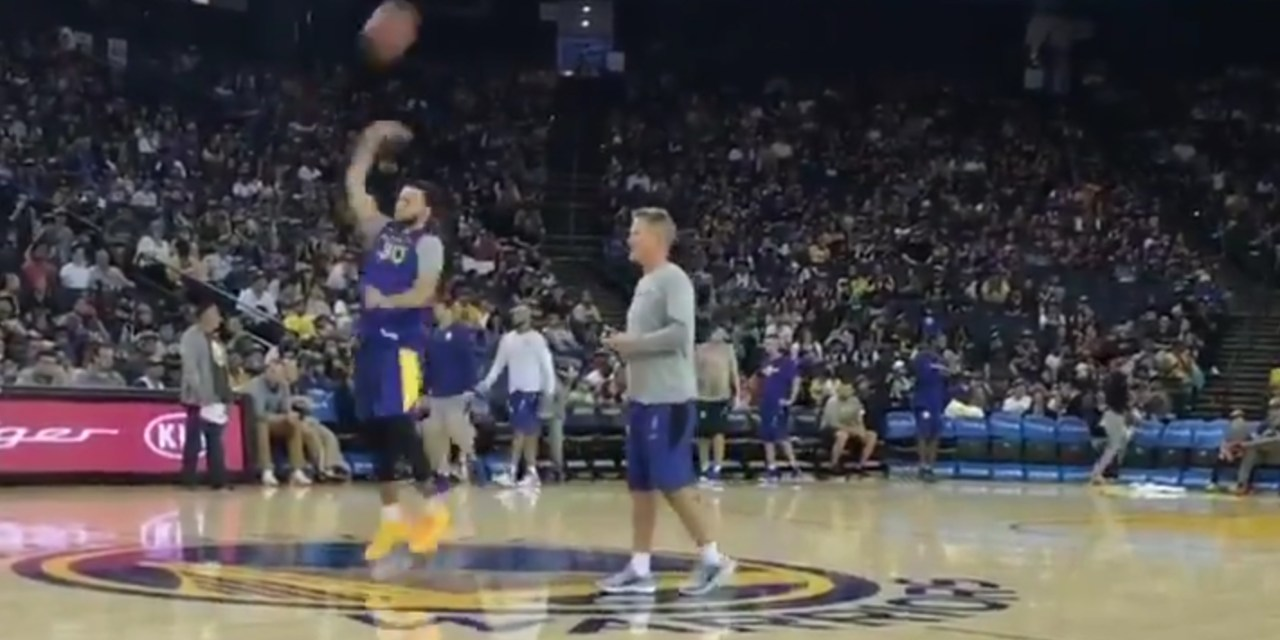 Steph Curry Drained a No Look Halfcourt Shot He Tossed Up Over His Shoulder