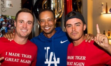 Justin Thomas and Rickie Fowler Sport 'I made Tiger Great again' Shirts