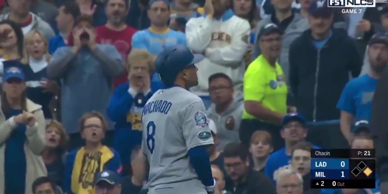 Manny Machado Directed a Crotch Grab at Brewers Fans after a Bunt Single in Game 7