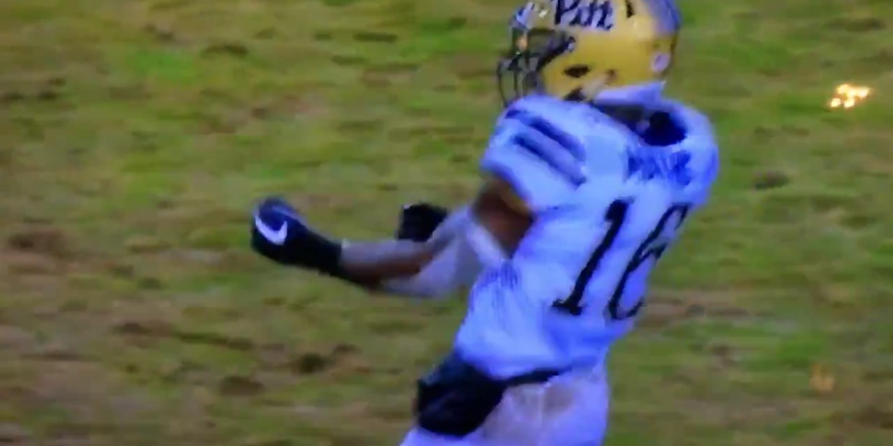 Pitt Player Celebrates Pass Breakup with a Machine Gun Gesture