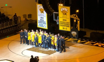 UMBC Hung a Banner to Commemorate Their Historic Upset Win Over Virginia