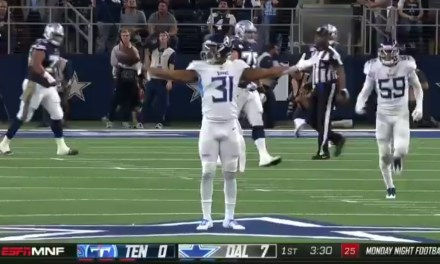 Titans Safety Kevin Byard Celebrated an Interception in the End Zone on the Cowboys Midfield Star
