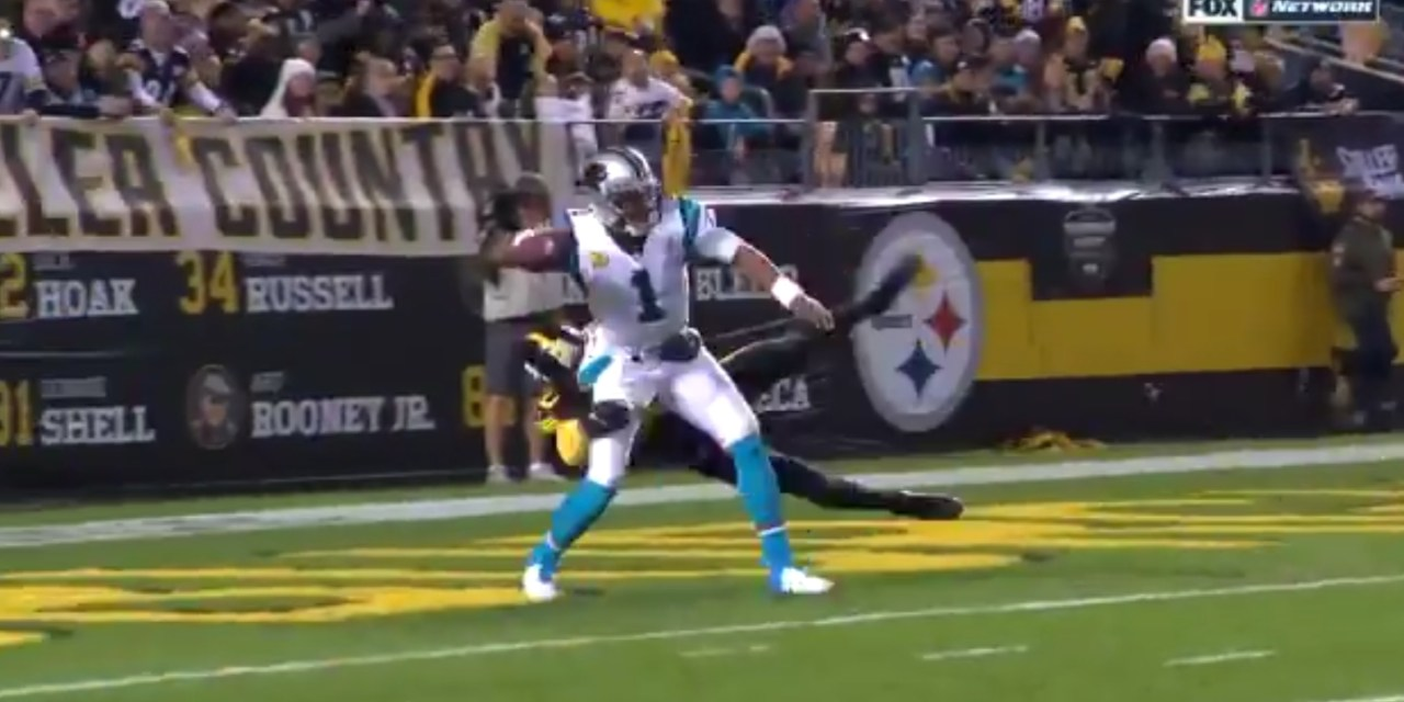 Cam Newton Threw a Pick Six from His Own End Zone