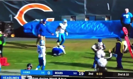 Ball Boy Gets Taken Out after Late Hit Knock Mitchell Trubisky into Him
