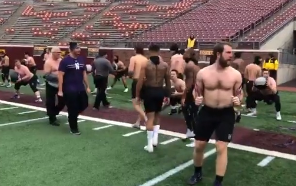 Northwestern Goes Shirtless for pre-game Warmups in Minneapolis