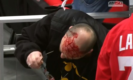 Sabres Cameraman Bloodied After Taking a Puck to the Head