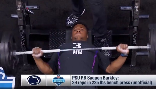 Saquon Barkley Dominates Combine: Benches 225lbs 29 Times